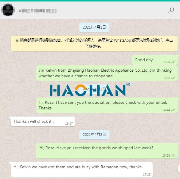 Customer feedback 2 Zhejiang Haohan